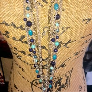 Chico's Jewelry - NWT- Chico's Long Silver & Turquoise Necklace